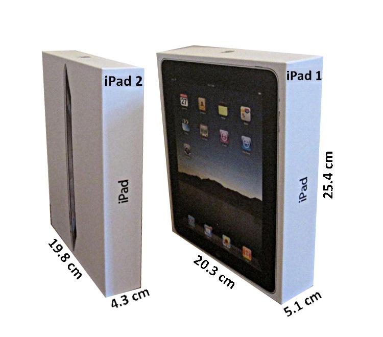 Сравнение коробок ipad1 и ipad2