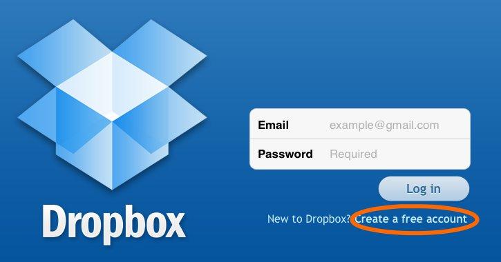 Регистрация dropbox на iPad