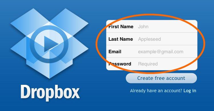 Регистрация dropbox шаг 2