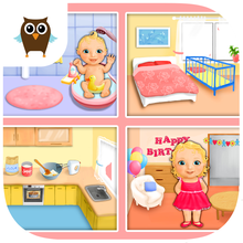 Sweet Baby Girl Dream House, Bath Time, Dress Up, Baby Care and Birthday Party - Kids Game